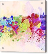 Brussels Skyline In Watercolor Background Acrylic Print