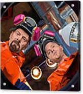 Bryan Cranston as Walter White and Aaron Paul as Jesse Pinkman @ TV serie Breaking Bad Acrylic Print