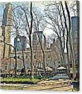 Bryant Park Library Gardens Acrylic Print