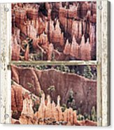 Bryce Canyon Utah View Through A White Rustic Window Frame Acrylic Print