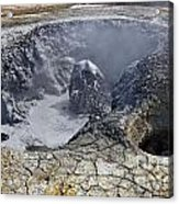 Bubbling Mud Pool At Hverir In Iceland Acrylic Print