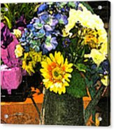 Bucket Of Flowers Acrylic Print