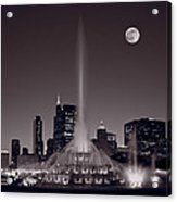 Buckingham Fountain Nightlight Chicago Bw Acrylic Print