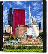 Buckingham Fountain Sears Tower Poster Acrylic Print