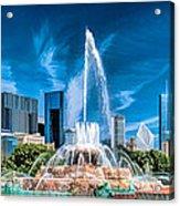 Buckingham Fountain Skyline Panorama Acrylic Print