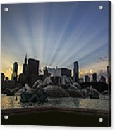 Buckingham Fountain With Rays Of Sunlight Acrylic Print