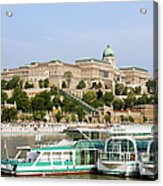 Buda Castle And Boats On Danube River Acrylic Print
