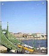Budapest Cityscape And Liberty Bridge Acrylic Print