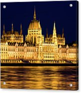 Budapest Parliament At Night Acrylic Print
