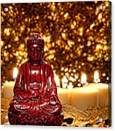 Buddha And Candles Acrylic Print by Olivier Le Queinec