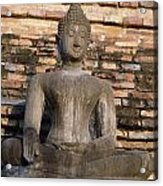Buddha Statue Outside Thai Temple Acrylic Print
