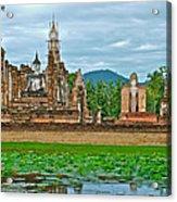 Buddhas At Wat Mahathat In 13th Century Sukhothai Historical Park-thailand Acrylic Print