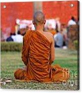 Buddhist Monk At Lumbini In Nepal Acrylic Print by Robert Preston