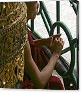 Buddhist Monk Leaning Against A Pillar Sule Pagoda Central Yangon Myanar Acrylic Print