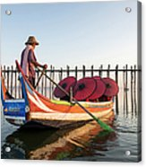 Buddhist Monks And Sightseeing Boat Acrylic Print