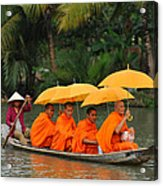 Buddhist Monks In Mekong River Acrylic Print by Dung Ma