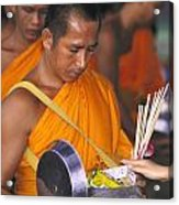 Buddhist Monks Receiving Alms Acrylic Print