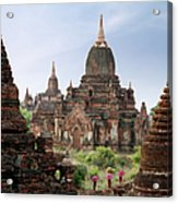 Buddhist Monks Walking Past Temple Acrylic Print