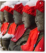 Buddhist Statues In Snow Acrylic Print