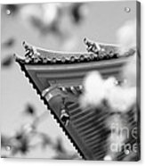 Buddhist Temple In Black And White - Roof Tile Details Acrylic Print