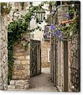 Budva Old Town Cobbled Street In Montenegro Acrylic Print