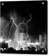 Budweiser Lightning Thunderstorm Moving Out Bw Pano Acrylic Print