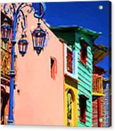 Buenos Aires suburb Caminito with blue lamp Painting Acrylic Print