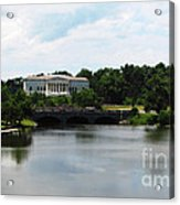 Buffalo History Museum And Delaware Park Hoyt Lake Oil Painting Effect Acrylic Print