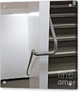 Building Interior White Staircase With Handrails Acrylic Print