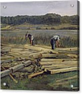 Building Site At Wesslingersee, 1876 Oil On Canvas Acrylic Print