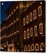 Building Windows Outlined In Lights Acrylic Print