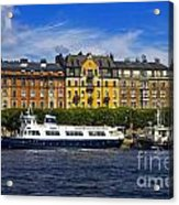 Buildings And Boats Acrylic Print