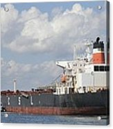 Bulk Cargo Ship Arriving At Port. Acrylic Print