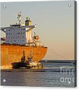 Bulk Carrier Being Guided By Tugs Close Up On Bridge Acrylic Print by Colin and Linda McKie