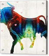 Bull Art - Love A Bull 2 - By Sharon Cummings Acrylic Print