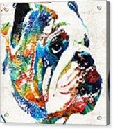 Bulldog Pop Art - How Bout A Kiss - By Sharon Cummings Acrylic Print