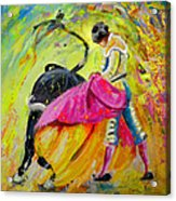 Bullfighting In Neon Light 01 Acrylic Print