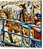 Bullrider And His Bull Acrylic Print
