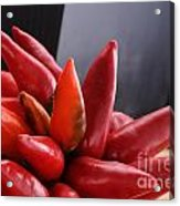 Bunch Of Red Chili On Black Acrylic Print