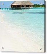 Bungalow Architecture And Beach On A Maldivian Island Acrylic Print