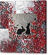 Bunnies In Blossom Acrylic Print