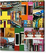Burano Italy Collage Acrylic Print