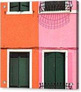 Burano Pink And Orange Acrylic Print
