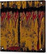 Burgandy Hearts On Gold Acrylic Print