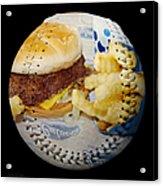 Burger And Fries Baseball Square Acrylic Print