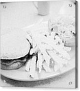 Burger Crinkle Cut Fries And Salad In A Cheap Diner In North America Acrylic Print by Joe Fox