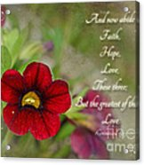 Burgundy Calibrochoa Greeting Card With Verse Acrylic Print