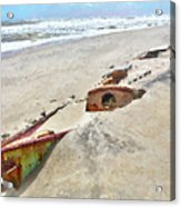 Buried Treasure - Shipwreck On The Outer Banks I Acrylic Print by Dan Carmichael