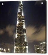 Burj Khalifa Tower In Dubai At Night Acrylic Print by Nicolae Feraru