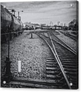 Burlington Vermont Train Yard Vintage Grunge Black And White Acrylic Print